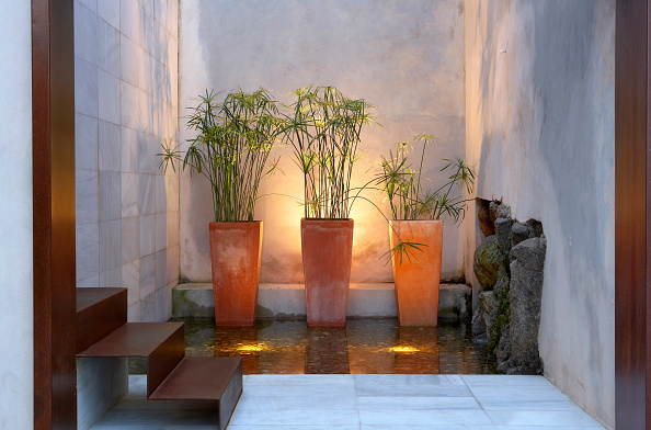 Tiled Floor「Tiled marble wall with houseplant and door steps」:写真・画像(13)[壁紙.com]