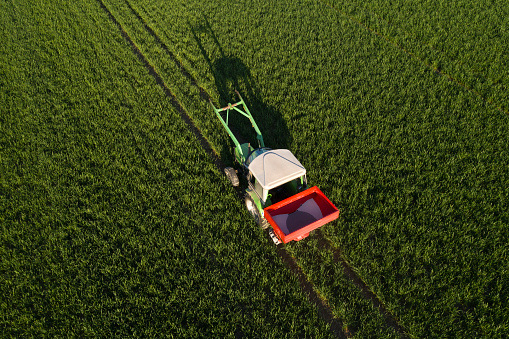 Fertilizer「Tractor fertilizing wheat field, aerial view」:スマホ壁紙(11)