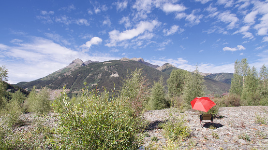 Camping Chair「Red umbrella and mountain clouds, Colorado, USA」:スマホ壁紙(2)