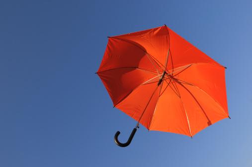 Umbrella「Red umbrella against blue sky.」:スマホ壁紙(3)