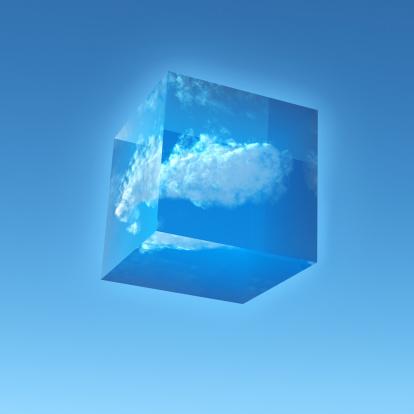 透明「Transparent Cube with a Cloud inside」:スマホ壁紙(5)