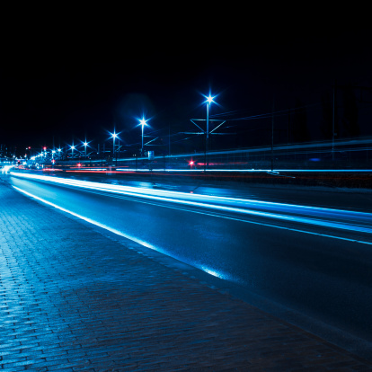 North Holland「Traffic car light trails, Amsterdam」:スマホ壁紙(2)