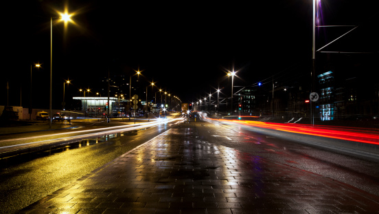 North Holland「Traffic car light trails, Amsterdam」:スマホ壁紙(8)