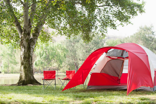 Lawn chairs and tent at campsite:スマホ壁紙(壁紙.com)