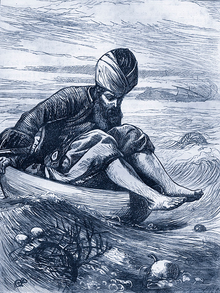 Sailor「Arabian Nights tale -  The Story of Sindbad the Sailor. Caption reads: 'Sindbad in the Tub'.  From Dalziels' Illustrated Arabian Nights' Entertainment」:写真・画像(12)[壁紙.com]
