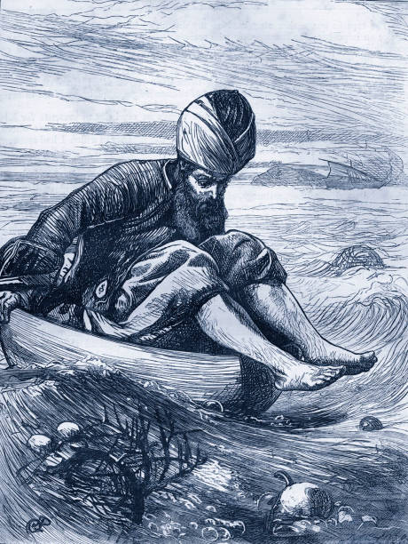 Arabian Nights tale -  The Story of Sindbad the Sailor. Caption reads: 'Sindbad in the Tub'.  From Dalziels' Illustrated Arabian Nights' Entertainment:ニュース(壁紙.com)