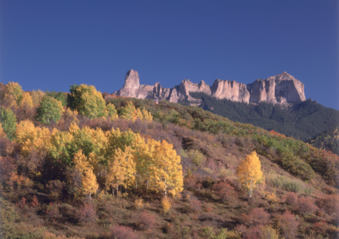 Uncompahgre National Forest「Owl Creek Pass and Cimarron Ridge in autumn. Courthouse Mountain and Chimney Rock are in background. Uncompahgre National Forest, Aspen, Colorado.」:スマホ壁紙(11)