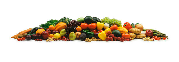 Mound of fruits and vegetable on a white background:スマホ壁紙(壁紙.com)
