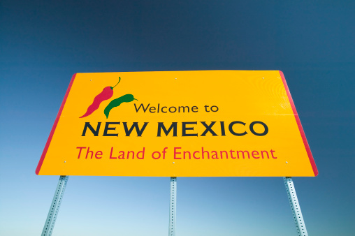 Wedding Invitation「Road sign 'Welcome to New Mexico', low angle view」:スマホ壁紙(1)