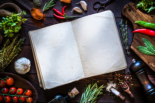 Recipe「Vintage cookbook with spices and herbs on rustic wooden background」:スマホ壁紙(3)