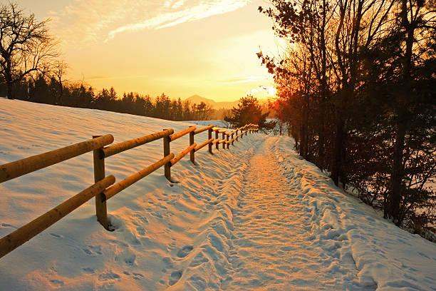 冬季の夕暮れ:スマホ壁紙(壁紙.com)
