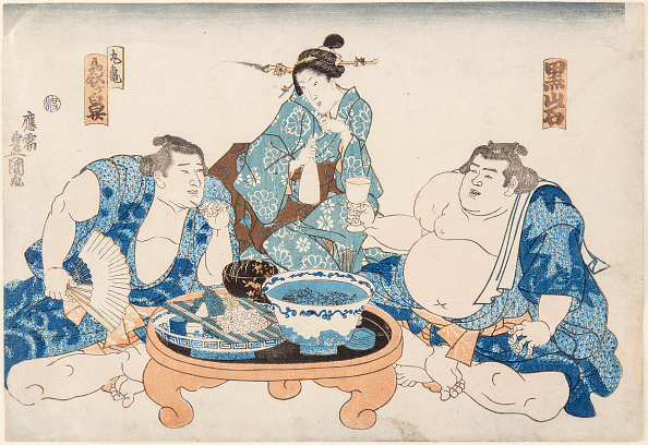 Painted Image「Sumo Wrestlers Kuroiwa And Zogahana With A Geisha」:写真・画像(9)[壁紙.com]