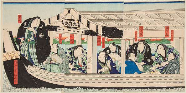 江戸時代「Sumo Wrestler Dairiki Maru On A Boat With Friends」:写真・画像(14)[壁紙.com]