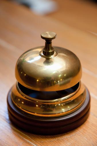 Hotel Reception「France, Picardy, Somme, Dernancourt, Service bell on desk」:スマホ壁紙(4)