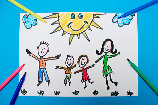 A young child's drawing of a happy family jumping:スマホ壁紙(壁紙.com)