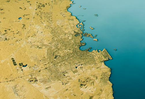 自然地理学「Doha 3D Landscape View South-North Natural Color」:スマホ壁紙(1)
