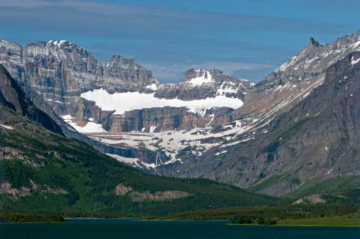 Grinnell Glacier「Salamander Glacier (upper), Grinnell Glacier (lower and disappearing) and Swift Current Lake, Many Glacier Area, Glacier National Park, Montana, USA」:スマホ壁紙(2)