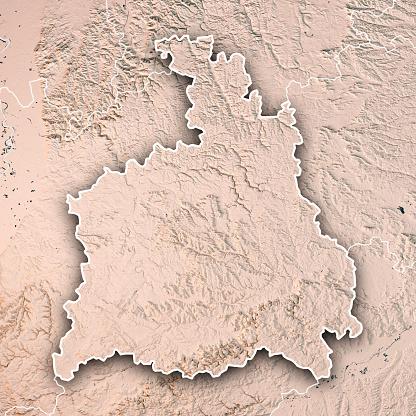 Map「シュトゥットガルト行政区バーデン = ヴュルテンベルク州の 3 D レンダリング地形マップ中立的な境界線」:スマホ壁紙(5)