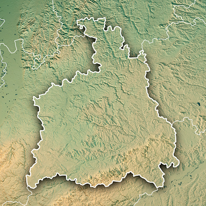 Map「シュトゥットガルト行政区バーデン = ヴュルテンベルク州の 3 D レンダリング地形マップの境界線」:スマホ壁紙(7)