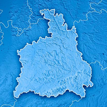 Map「シュトゥットガルト行政区バーデン = ヴュルテンベルク州の 3 D レンダリング地形マップ青の枠線」:スマホ壁紙(6)