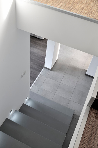 Built Structure「Hall, staircase in modern apartment interior, wooden floors, concrete stairs」:スマホ壁紙(17)