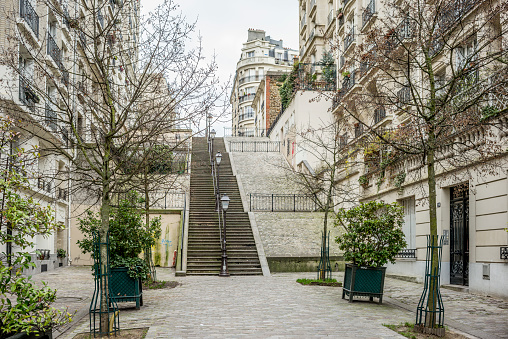 Steps and Staircases「Looking up at the steps at the Rue du Mont, Montmartre, Paris in winter.」:スマホ壁紙(9)