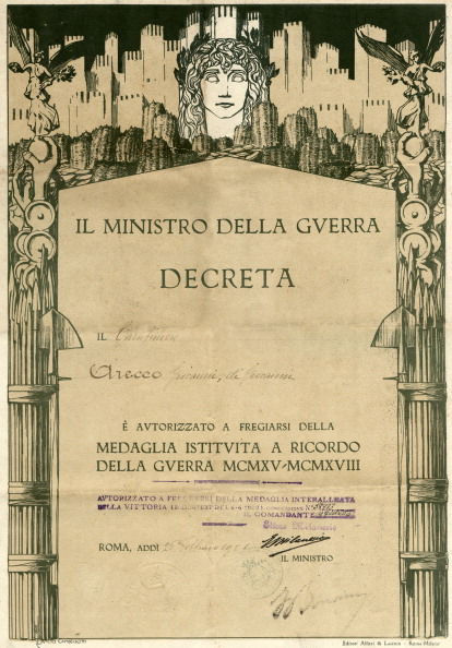 Fototeca Storica Nazionale「ITALY - ROME 1921: certificate for the inter-allied medal in memory of the World War 1915-1918」:写真・画像(7)[壁紙.com]