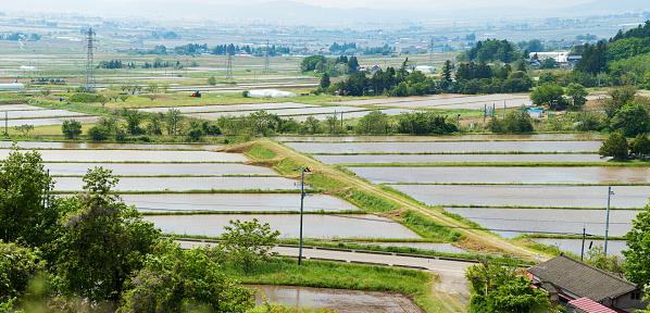 月「福島県米の田んぼと村のパノラマ」:スマホ壁紙(15)