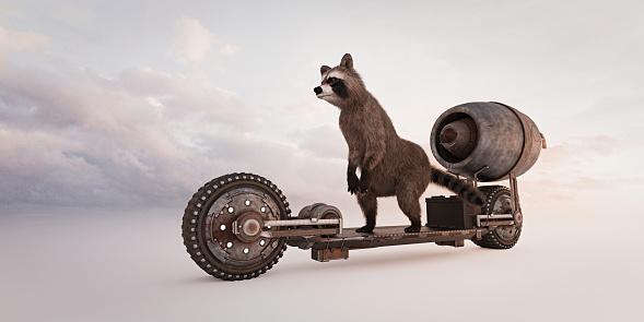 Raccoon「Raccoon riding futuristic skateboard」:スマホ壁紙(18)