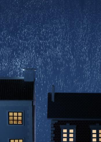 Rain「Rain falling over houses, night」:スマホ壁紙(13)