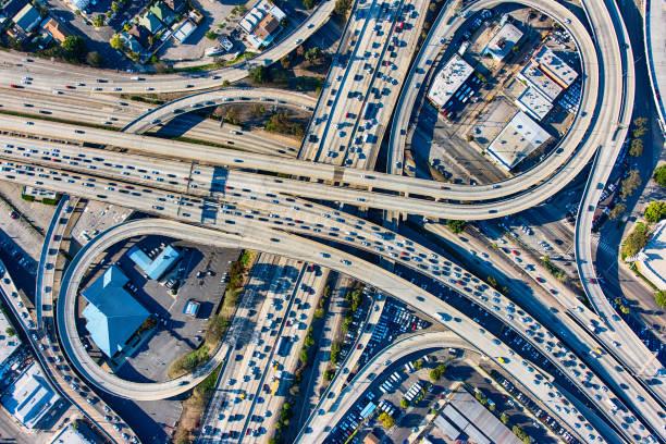 Busy Los Angeles Freeway Interchange Aerial:スマホ壁紙(壁紙.com)