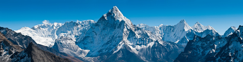 Khumbu「Dramatic peaks pinnacles snowy summits high altitude mountain panorama Himalayas」:スマホ壁紙(2)