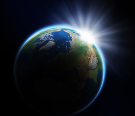 Planet Earth「Earth and rising Sun」:スマホ壁紙(11)