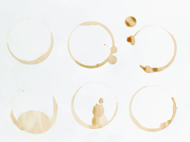 Six coffee stains on white surface:スマホ壁紙(壁紙.com)