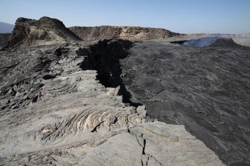 Basalt「South pit crater filled by basaltic lava flows, Erta Ale volcano, Danakil Depression, Ethiopia.」:スマホ壁紙(3)