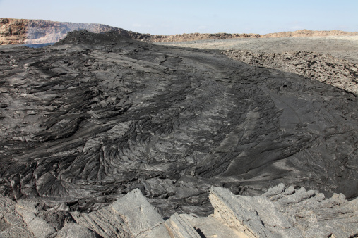 Basalt「South pit crater filled by basaltic lava flows, Erta Ale volcano, Danakil Depression, Ethiopia.」:スマホ壁紙(9)