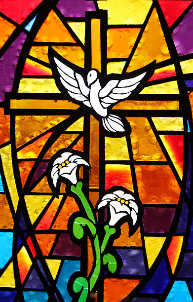 Multicolored Stained Glass Window - Cross with Dove and Lilies:スマホ壁紙(壁紙.com)