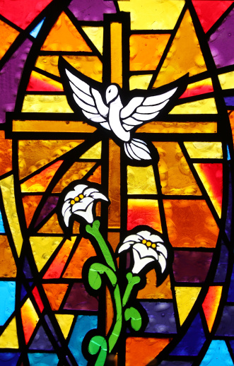 Spirituality「Multicolored Stained Glass Window - Cross with Dove and Lilies」:スマホ壁紙(2)