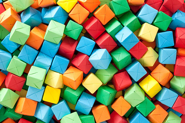 Multicolored paper cubes:スマホ壁紙(壁紙.com)