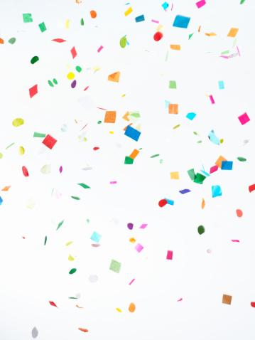 New Year「Multicolored Confetti on White Background」:スマホ壁紙(8)
