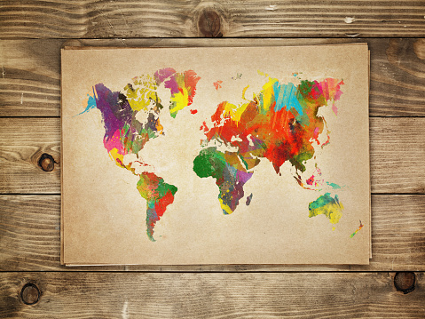 Postmodern「Multi-colored continents on a paper world map」:スマホ壁紙(9)
