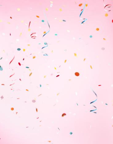 Celebration「Multicolored Confetti on Pink Background」:スマホ壁紙(19)