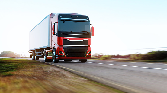 Freight Transportation「semi-truck with trailer driving on road」:スマホ壁紙(16)