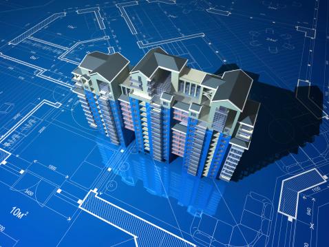 Housing Project「Apartment Building On Blueprint」:スマホ壁紙(10)