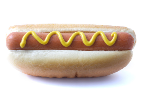 Hot Dog「Hot dog wiener topped with yellow mustard on a white bun」:スマホ壁紙(4)