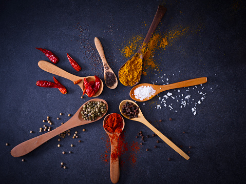 Spoon「Variety of spices on wooden spoons」:スマホ壁紙(9)