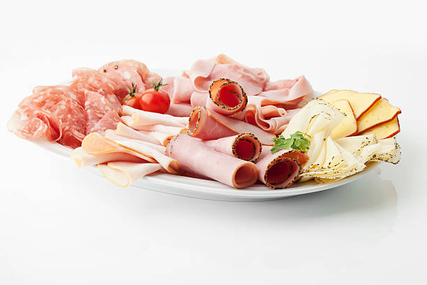 Variety of meat and cheese slices in plate on white background:スマホ壁紙(壁紙.com)