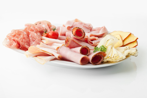 Cheese「Variety of meat and cheese slices in plate on white background」:スマホ壁紙(2)