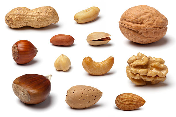Variety of Nuts on White:スマホ壁紙(壁紙.com)