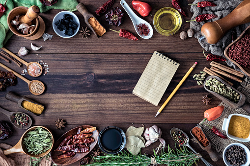 Garlic Clove「Variety of allspice ingredients and condiments for food seasoning around empty frame in old fashioned kitchen」:スマホ壁紙(10)